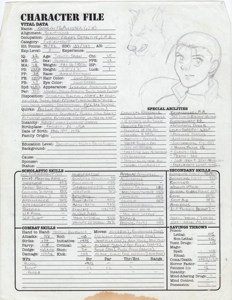 Kate's Heroes Unlimited 2.0 character sheet