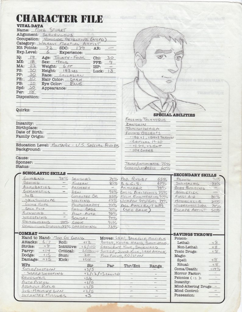 Mike's Heroes Unlimited 2.0 character sheet