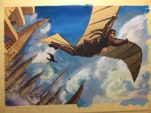Gouache cloudscape study