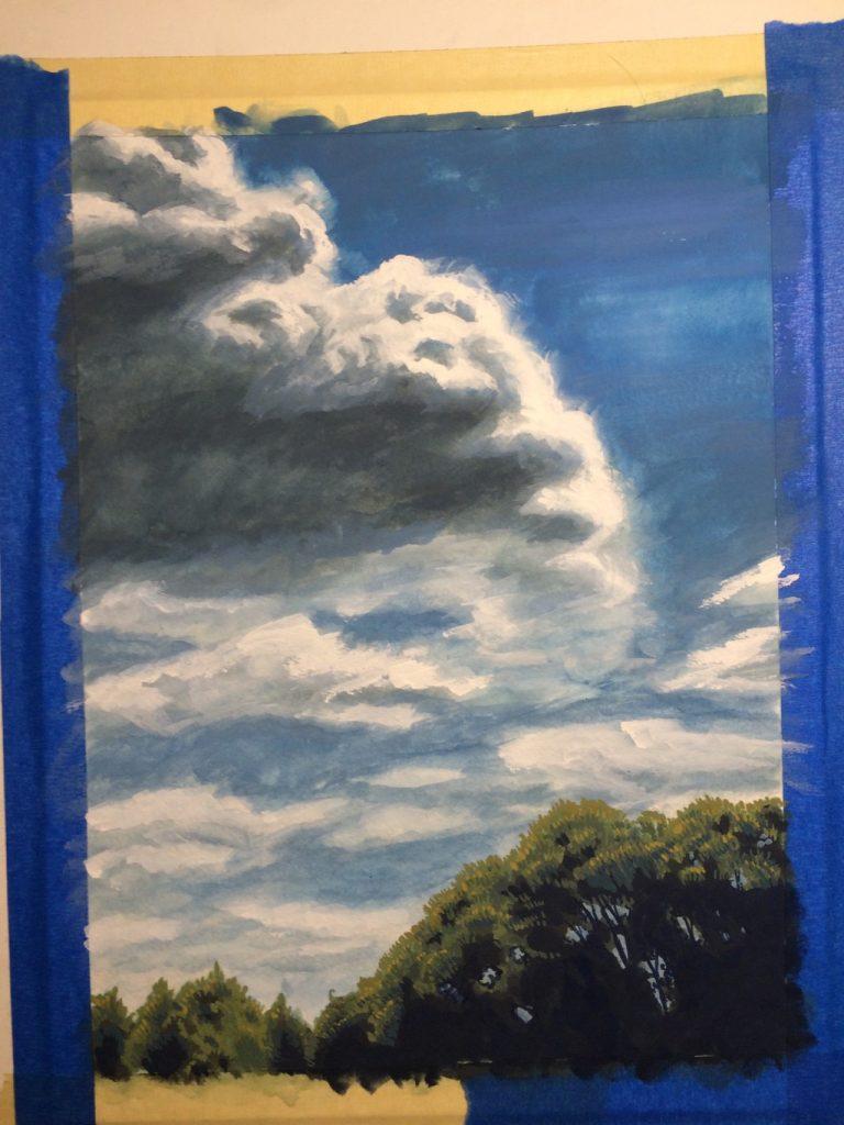 Cloud study - gouache