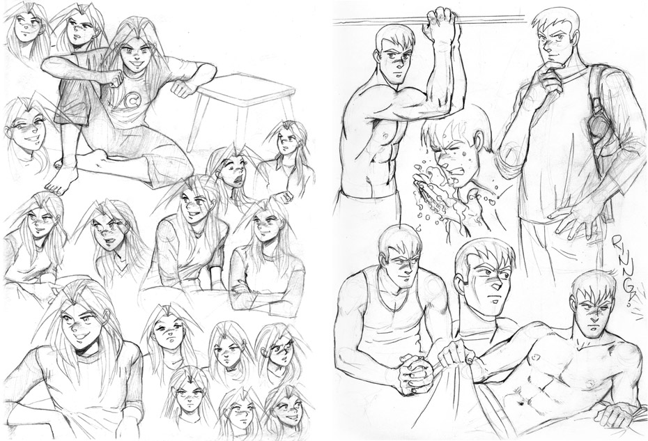 Character studies drawn from reference photos in magazines.